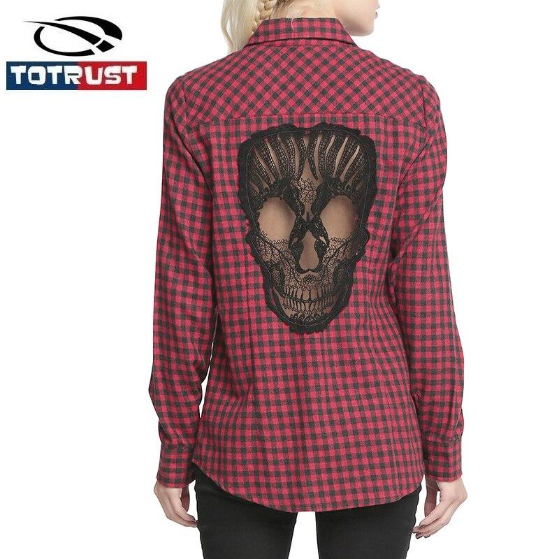 c5f1df14ef Koronka Czaszka Długim Rękawem Kobiet Bluzka Koszula 2018 Nowy Dorywczo  Kołnierz ścielenia Kratę Koszule Kobiety Góry Kobiet Topy blusas Femininas