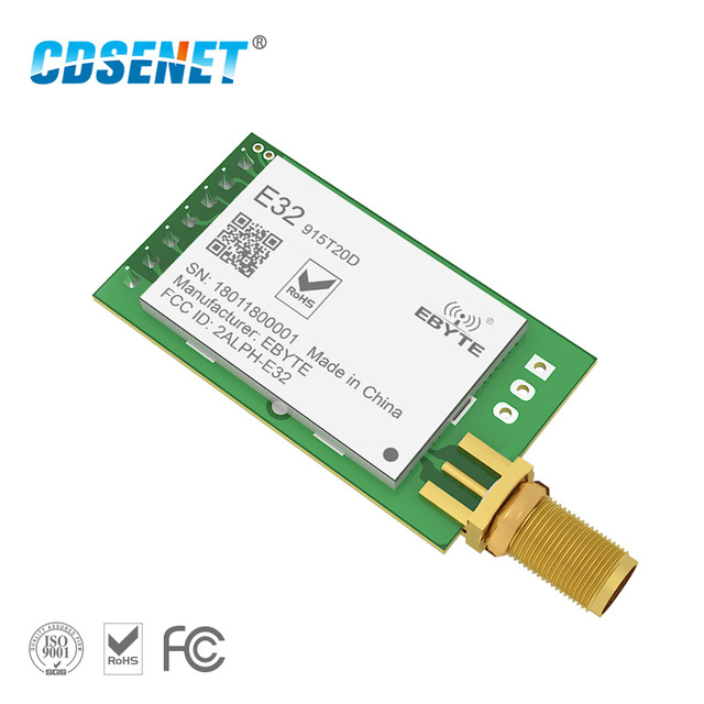 US $9 72 5% OFF|1pc LoRa 915MHz SX1276 rf Transceiver Wireless Module Long  Range E32 915T20D iot UART 915 Mhz Circuit rf Transmitter Receiver-in Fixed