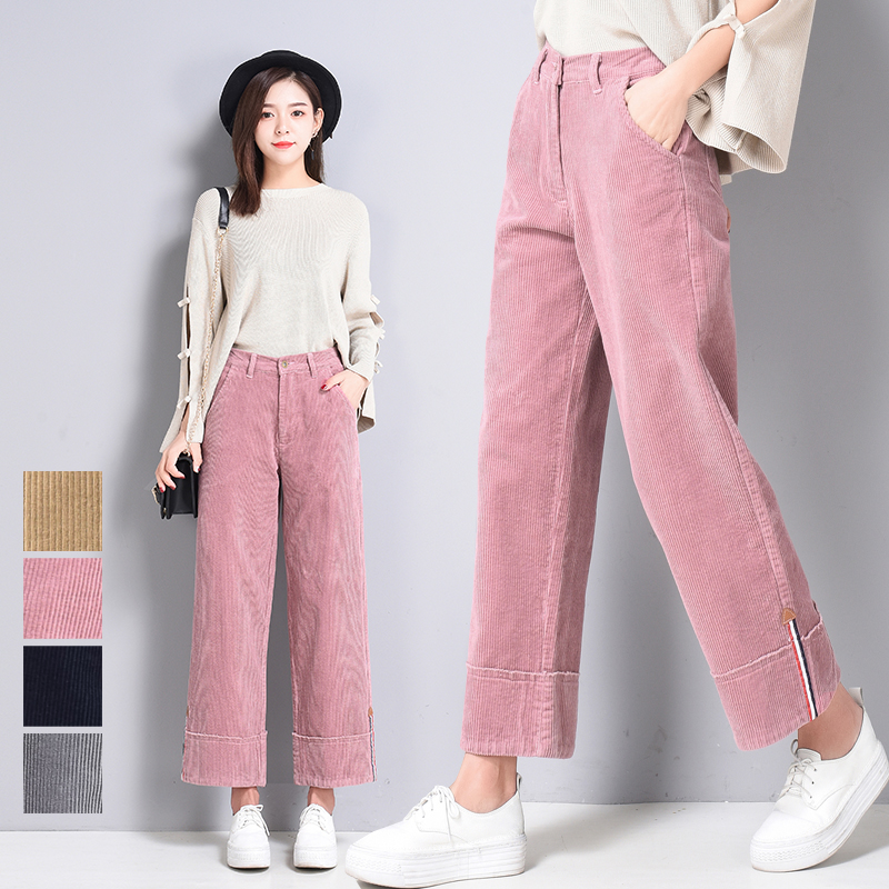 spring autumn Women New Corduroy   Wide     Leg     Pants   Women Fashion Straight Trousers Women Casual Corduroy Loose Ankle-Length   Pants