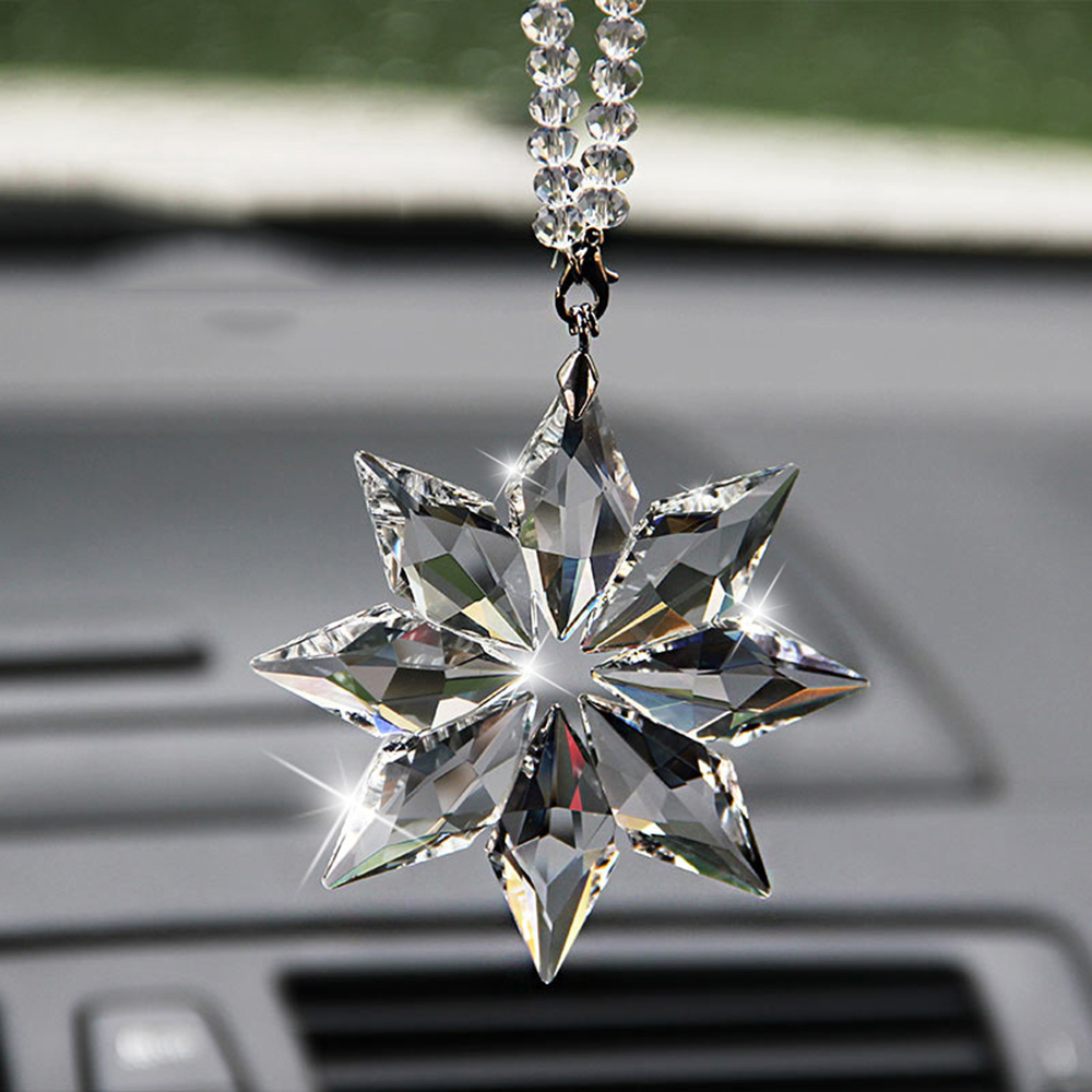 Car Pendant Transparent Crystal Snowflakes Decoration Suspension Ornaments Sun Catcher Snowflake Hanging Trim Christmas Gifts
