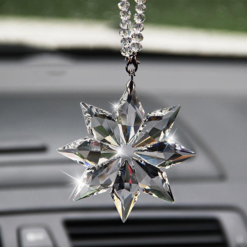HUAI Pendentif Cristal Voiture Snowflakes d/écoration Suspension Ornements Flocon de Neige de No/ël Hanging Garniture Style Romantique Cadeaux Color Name : 1
