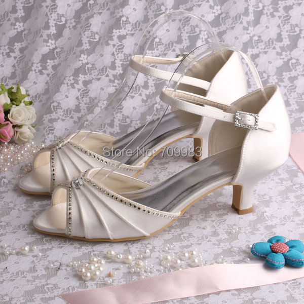 Individually Handmade Ivory Satin Wedding Shoes Low Heel Open Toes Hot Ing Summer Sandals Women