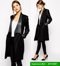 European and American stars with money coat for women Stitching leather Seminarians Woolen coat trench winter coat JX207