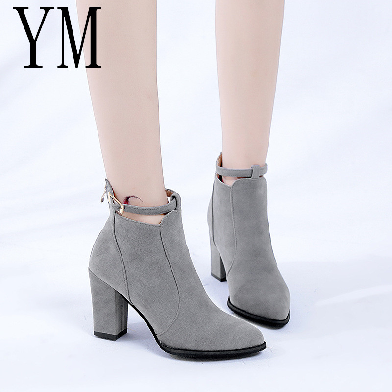 Women Shoes Ankle-Boots High-Heels Warm Autumn Winter Casual Hot Mujer Pu 3colour Pumps