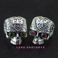 925 чистый серебряный Скелет Череп крови великолепное тайское серебряное кольцо