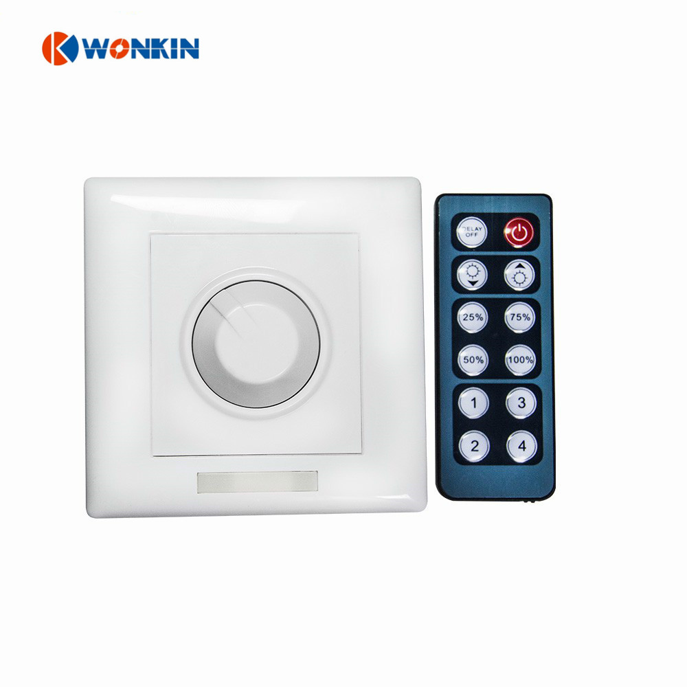 12keys LED Dimmer Wall Install 0-10V Dimmable Switch 8A DC12-24V Single Color Fade Bright IR With Remote Control