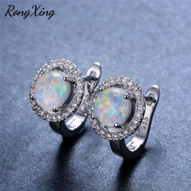 RongXing Cute White Fire Opal Hoop Earrings for Women Fashion 925 Sterling  Silver Filled CZ Female Wedding Earrings Gift Ear0721 a1532a82b7f6