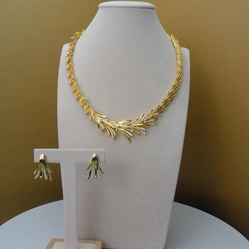 2019 Yuminglai Italian Design 24K Dubai Costume Jewelry Sets Necklace and Earrings FHK5794