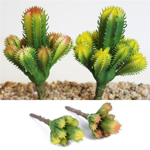 1 Pcs Artificial Succulent Plants Mini Green Cactus Flores Foliage For Home Office  Desk DIY Decoration