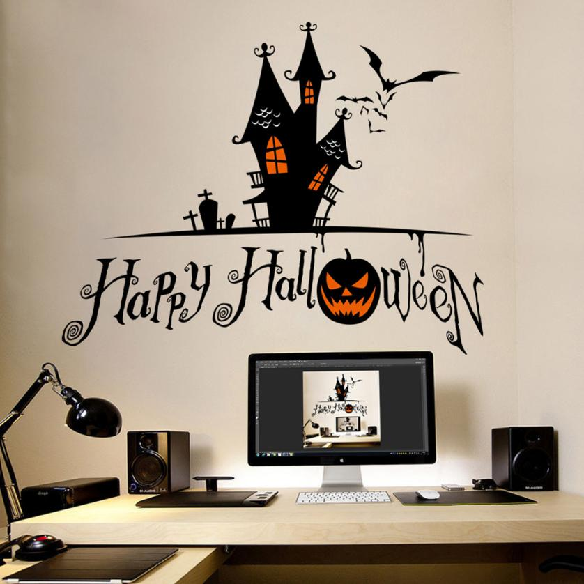 halloween home decor wall stickers diy removable vinyl wall sticker halloweenpapel parede photo wall mural wallpaper - Halloween Wall Mural