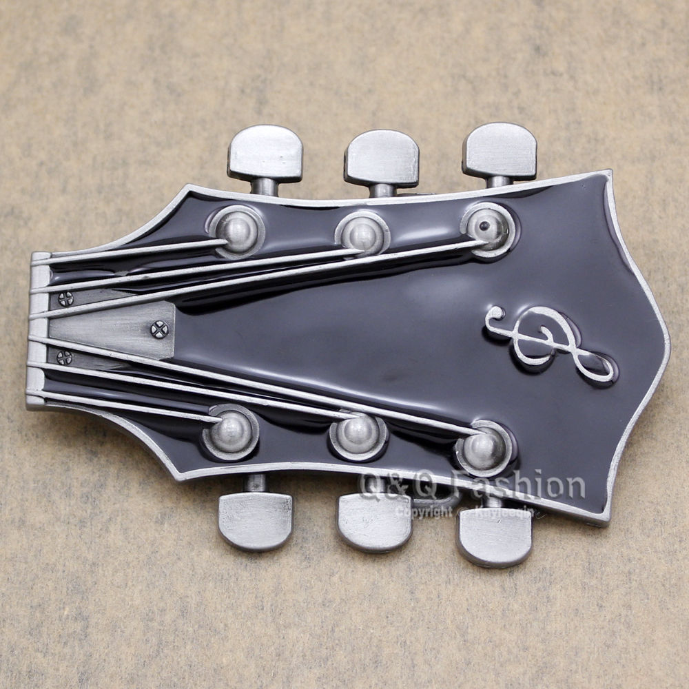 Guitarist Western Silver Guitar Men Women Belt Buckle Rock Roll Music Note Tuner Enamel  ...