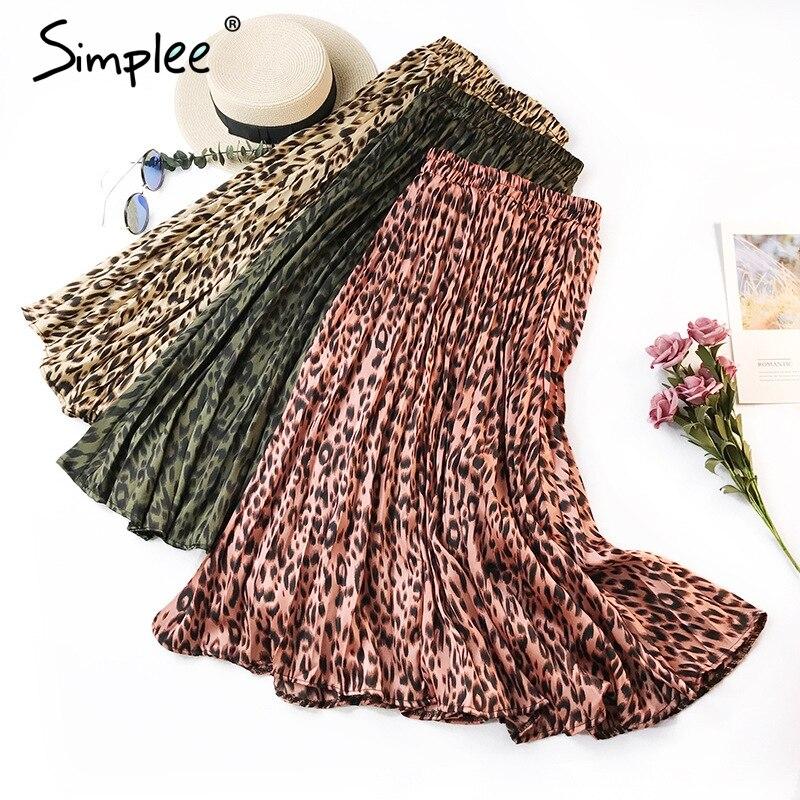 Simplee Vintage leopard pleated women skirt Retro high waist chiffon autumn skirt Christmas female long cute fall skirt bottoms