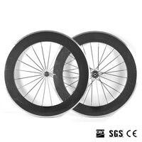 Catazer 700C 23mm Ancho 88mm Profundidad Wheelset de la Bicicleta Llena del Carbón Del Camino Del Remachador con Superficie de Freno de Aleación De Aluminio de la Rueda 3 K/UD Mate