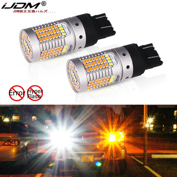 IJDM 7443 LED CANbus nie Hyper Flash 44-SMD Switchback podwójny kolor światło kierunkowskazu LED żarówki dla Ford F150 F250 F350 lub Mustang