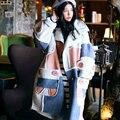 Mx001 nova chegada 2016 bloco de cor solta berber velo camurça engrossar longo de grandes dimensões mulheres casaco de inverno