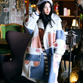 Mx001 recién llegado 2016 suelta color block bereber de lana de gamuza espesar larga de gran tamaño mujeres abrigo de invierno