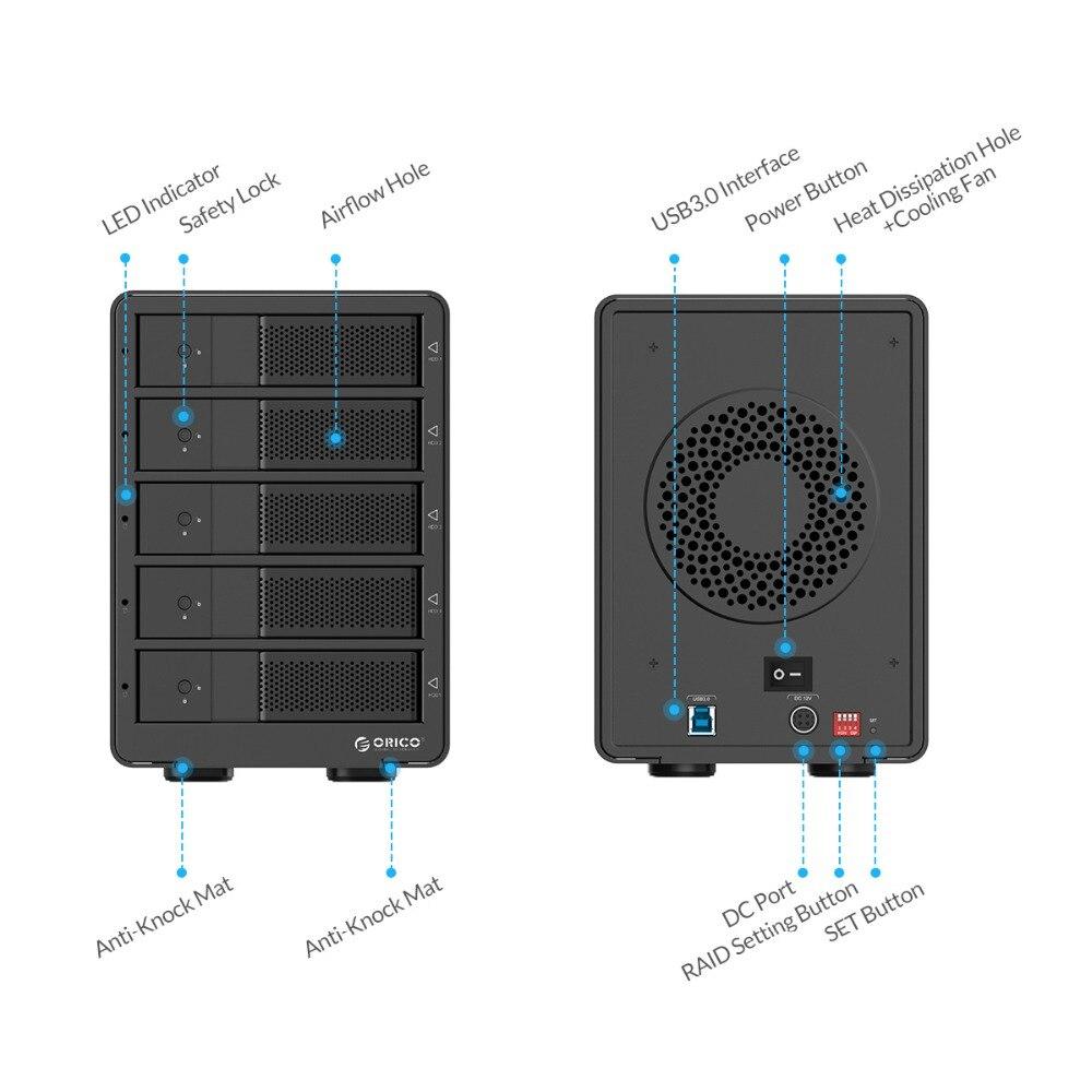 ORICO Aluminium USB3.0 5 bay 3.5 pouce SATA Boîtier de Disque Dur 50 tb Max Avec 12V6. 5A UE Plug Power Adaptateur Raid Fonction - 4
