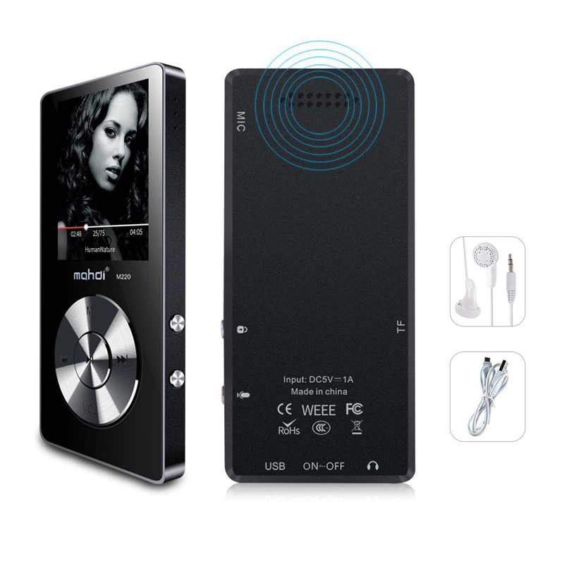 Original Metal MP3 Player Lossless HiFi MP3 Music Player With High Quality Sound Out Speaker E-book FM Radio Clock(Black)