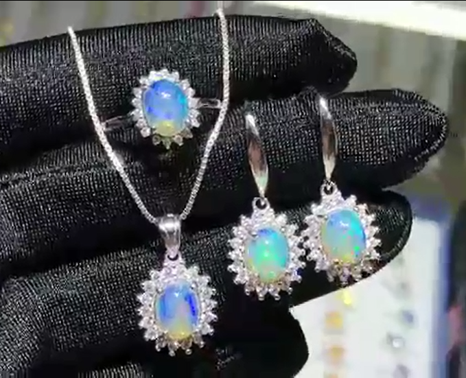 Fine Jewelry 925 Silver Jewelry Multiple Color Women Natural Opal Jewelry Engagement Wedding Sets without Chain
