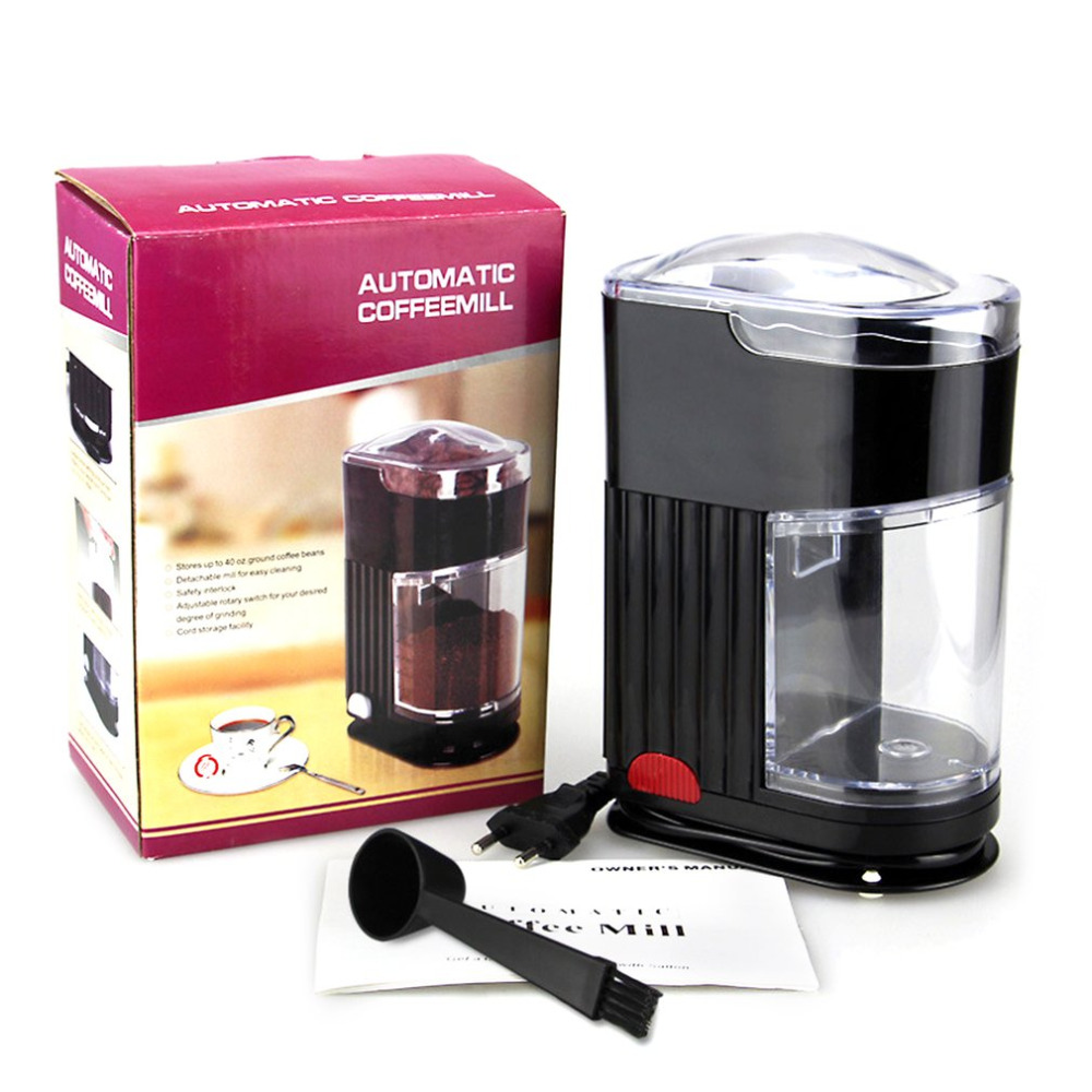 Home Coffee Grinding Machine Electric Portable Burr Mill <font><b>Espresso</b></font> Coffee Bean Grinder Machine Coffee Powder Maker EU Plug