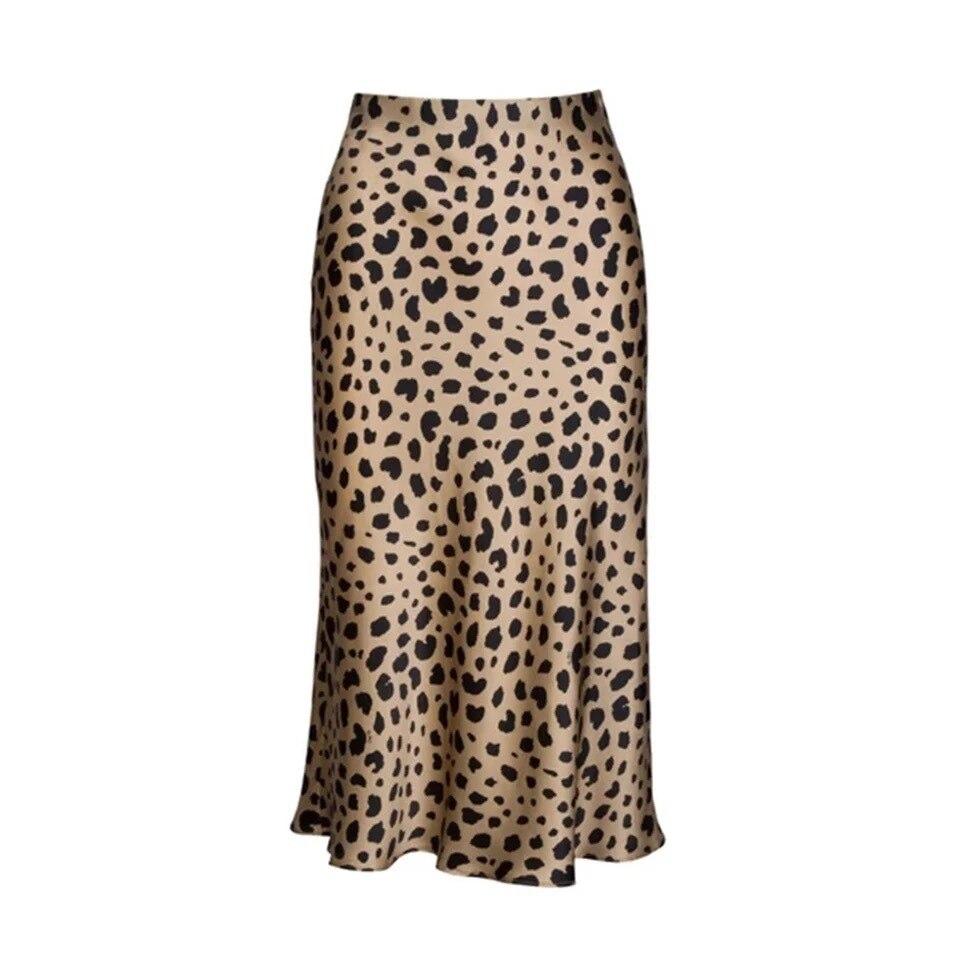 Women's Skirt Silk Leopard Print Sexy Elastic High Waist Midi Skirt 2019 Spring Autumn