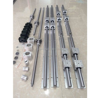 RU Delivery SBR 16 linear guide Rail 6 set SBR16 300/1000/1300mm + ballscrew set SFU1605 300/1000/1300mm + BK/BF12 CNC parts