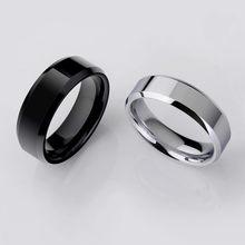 Anel de dedo preto titânio masculino, anéis banhados à prata para casal, novo, 2019