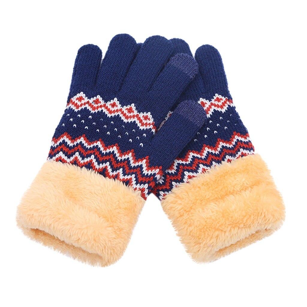 Eerlijk Hot Selling Nieuwe Vrouwen Mannen Winter Geometrische Knit Klik Screen Vingers Screen Warme Fleece Handschoenen Guantes Handschoenen Uitstekend In Kusseneffect