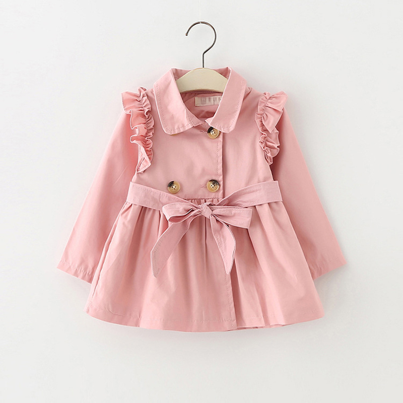 1bf39210554a 1 4T Baby Girls Jackets 2018 Spring Autumn Solid Cotton Coat ...