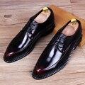 Модные Мужские ботинки платья Свадебные туфли Люксовый бренд оксфорд обувь для Мужчин Острым Носом Мужчины Квартиры Зашнуровать ботинки Кожаные 22