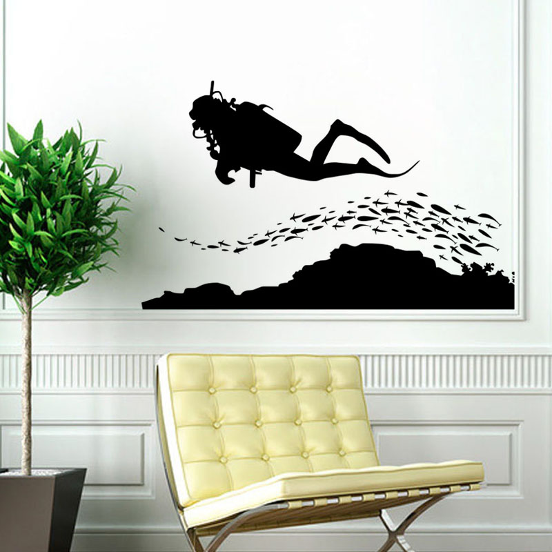 Aquarium Wall Stickers Home Decorations a Group of Fish and Diver - Home Decor