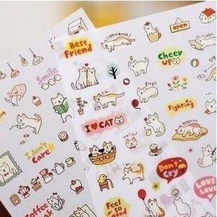 6Sheets / pack Lovely Cat Best Friend Book Diary Stickers Scrapbooking Stationery Sticker E0331