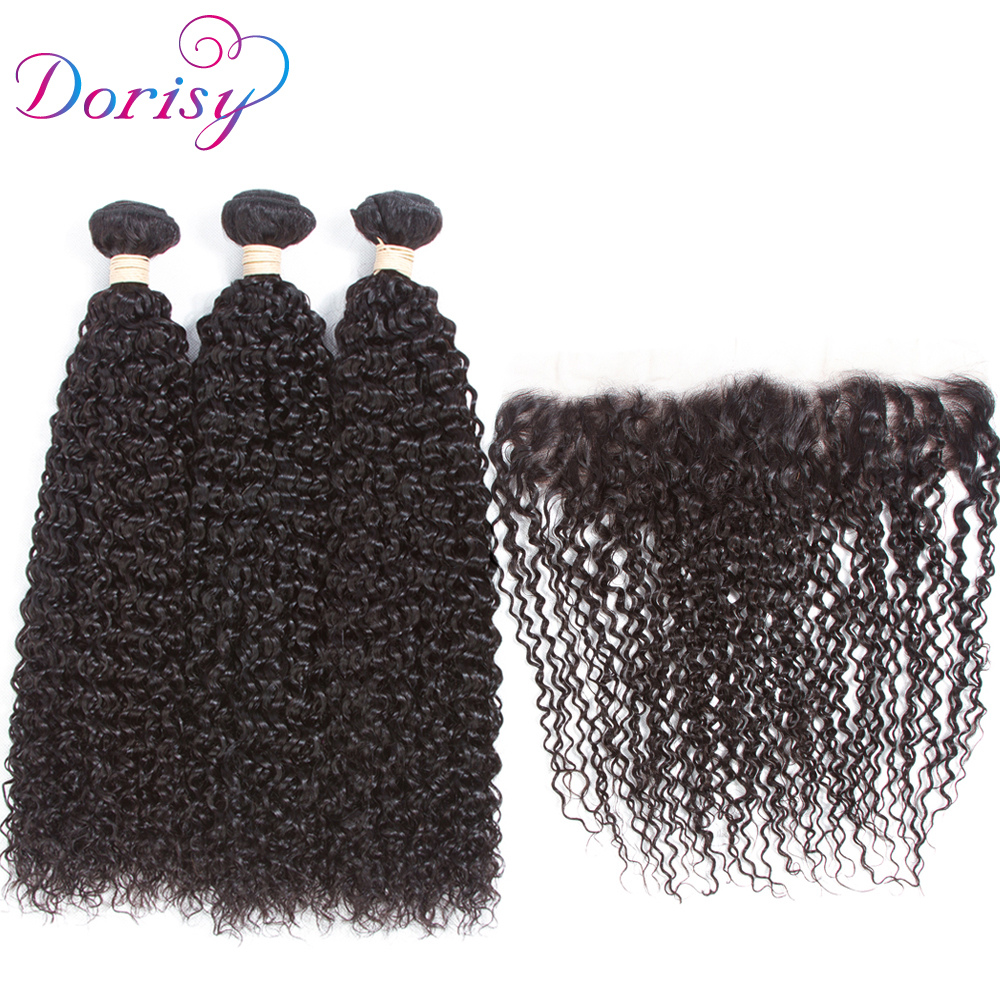 Dorisy 13x4 Lace Frontal Closure Kinky Curly Peruvian Hair Weave 3 Human Hair Bundles With Frontal Closure Remy Hair Products