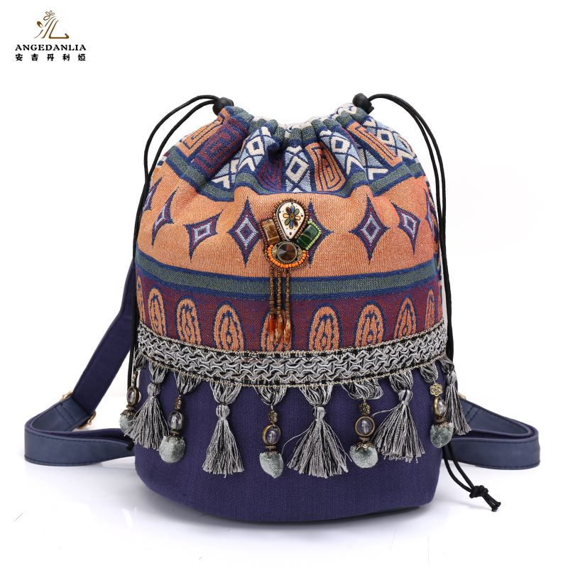 baa8f9df9bf US $28.49 5% OFF|women Bohemian style backpack ladies fancy bags canvas  shoulder bag Boho Cotton Fabric Bag national ethnic bags knapsack-in  Backpacks ...