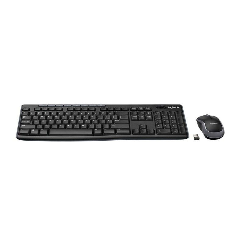 Logitech MK270, Standard, Wireless, RF Wireless, QWERTY, Black, Mouse included