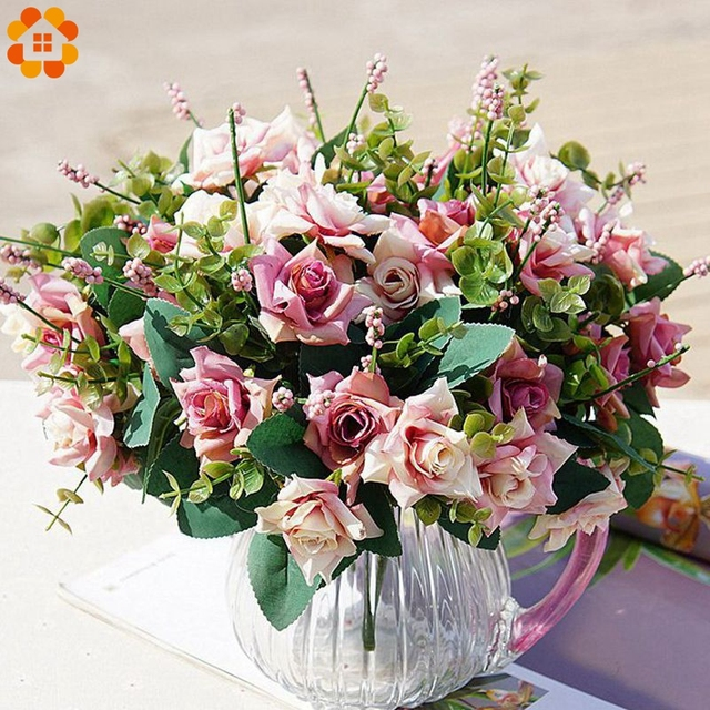 1Bouquet Silk Artificial Flowers Vintage Rose Simulation Flower ...