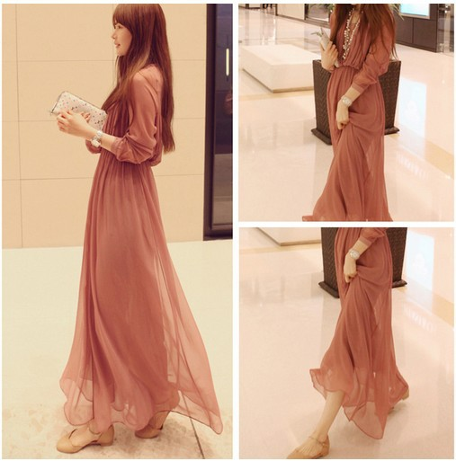 New ladies boho dress chiffon pleated long sleeves casual for Long sleeve casual wedding dresses