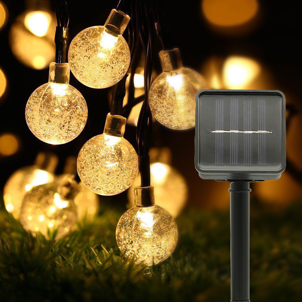 5M 6M Solar Lamp Crystal Ball LED String Lights Flash Waterproof Fairy Garland For Outdoor Garden Christmas Wedding Decoration