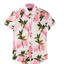 Dioufond Короткий Рукав Рубашки Женщины Блузки Цветочный Печати Хлопок Топы Дамы Короткие Blusas Плюс Размер Женская Одежда Мода Рубашка