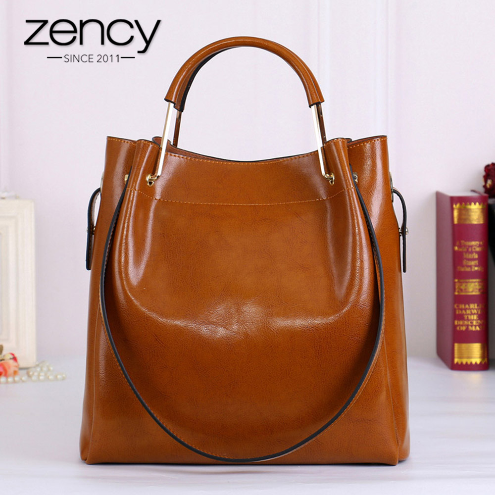 Zency Fashion Brown 100 Genuine Leather Women Handbag Simple Travel Tote Bag Large Capacity Lady Shoulder