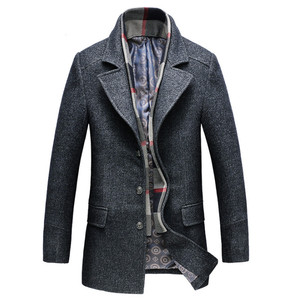 Image 3 - Dropshipping new spring autumn Mens Casual Wool Trench Coat Fashion Business Long Thicken Slim Overcoat Jacket Male Peacoat