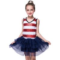 Retail Children Dresses Princess Skirt Sequin Vest Girls Dress Tutu Stripe Dancing Skirts Summer Girls Dresses