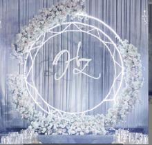 New wedding props iron art ring shelf sunflower door background decoration round arch.