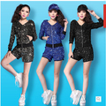 Free Shipping !!! DS Costumes Sequined Hoodie HIPHOP Jazz Dance Performance Stage Suits For Men and Women 1 Sets