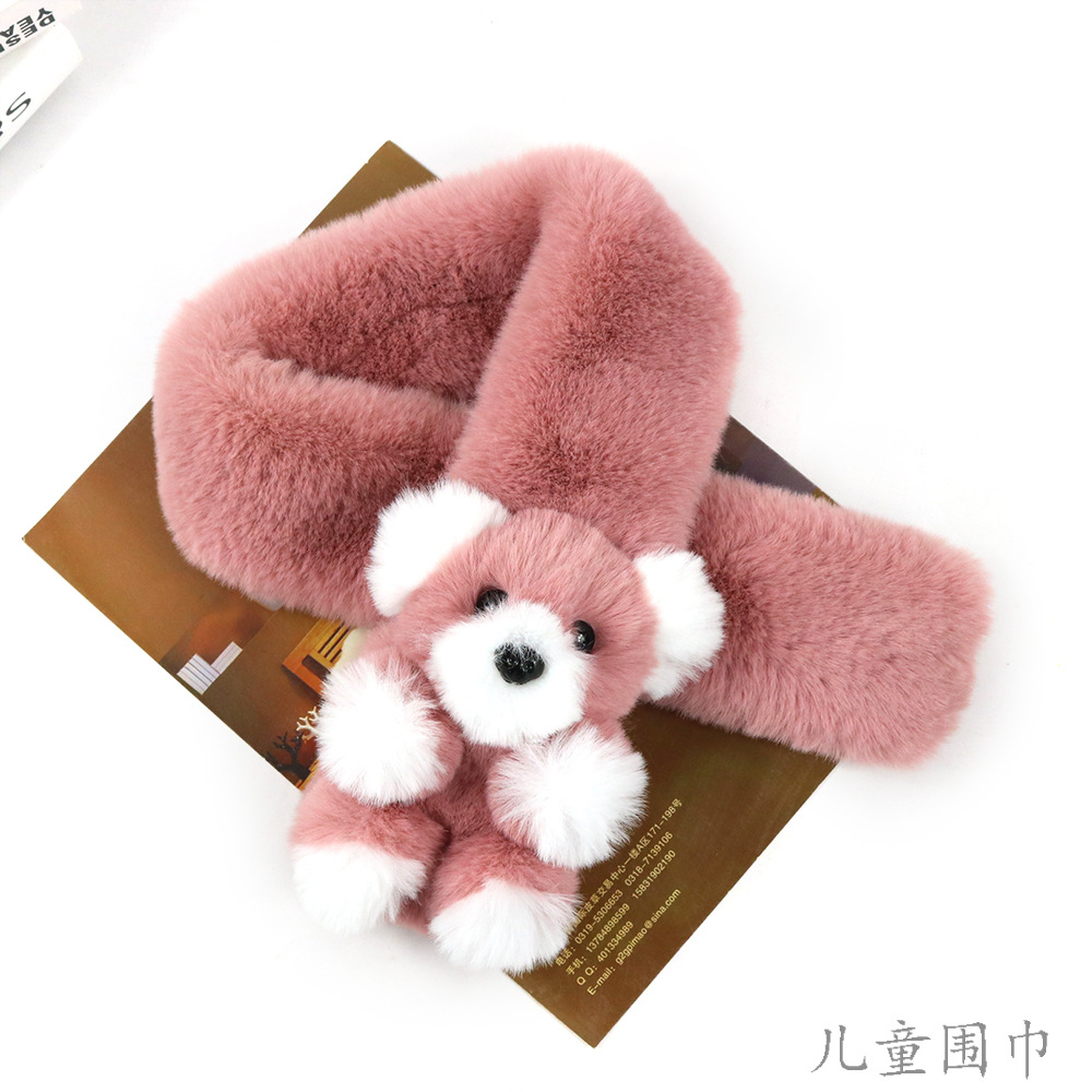 Autumn Winter Imitation Rabbit Fur   Scarves     Wraps   Children's   Scarf   Creative New Bear Baby Neck Plush Warm Fur Infinity   Scarf