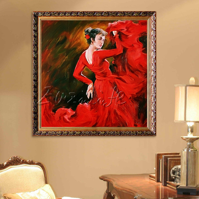 Spanish Flamenco Dancer painting - latina, woman Oil painting on canvas hight Quality Hand-painted Painting latina painting Red