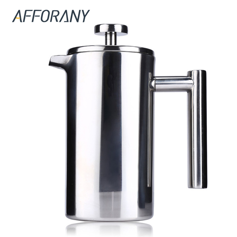 Afforany 1000ml Coffee Pot Stainless Steel French Cafetiere Filter Baskets Espresso Outdoor Home Tea Maker Double Wall In Pots From