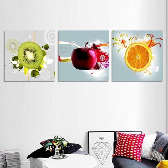 New 3pcs Canvas Art Kitchen Wall Fruit Juice Decor Oil Painting On Prints