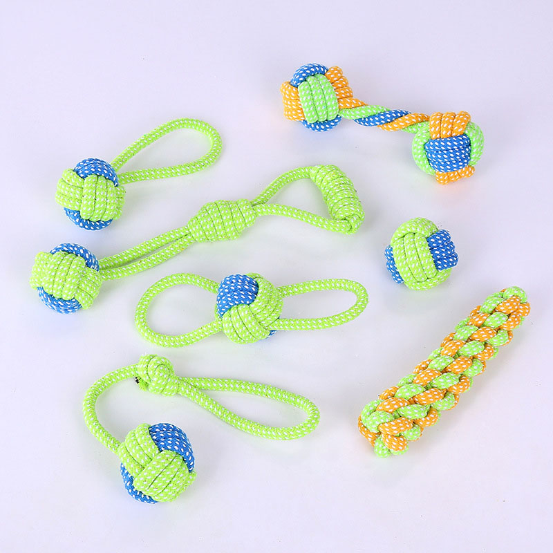 Dog Chew Toys for Small Medium Large Dogs 100% Natural Cotton Durable Rope and Ball for Aggressive Chewers Pet Dental Health