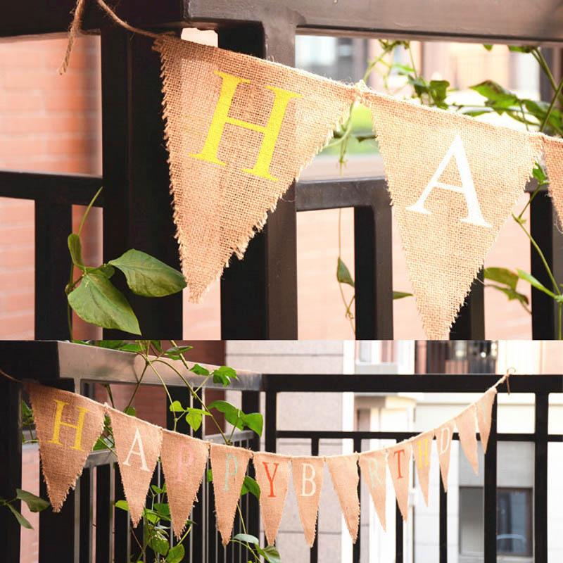 1 unids 3.2 M 13 Banderas de Colores Carta FELIZ CUMPLEAÑOS Banderín Bandera de Lino Niños la Fiesta de Cumpleaños Decoraciones Caseras Festival Deco
